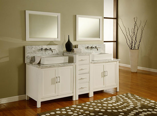 Artesia double 84 inch modern bathroom vanity pearl white for 84 inch white bathroom vanity