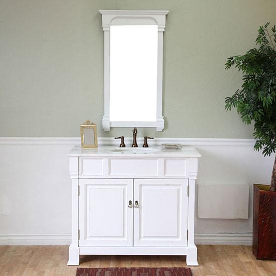 Harlow Single 42 Inch Traditional Bathroom Vanity White