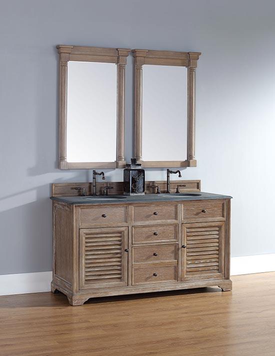 James Martin Savannah Double 60 Inch Transitional Bathroom Vanity Driftwood