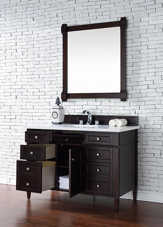 James Martin Brittany Single 48 Inch Burnished Mahogany Vanity Cabinet Optional Countertops