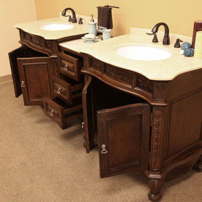Montreal double 83 inch traditional modular vanity set for Prefab vanity