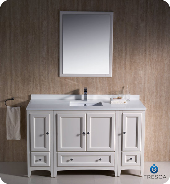 Fresca Oxford Single 54 Inch Transitional Bathroom Vanity Antique White