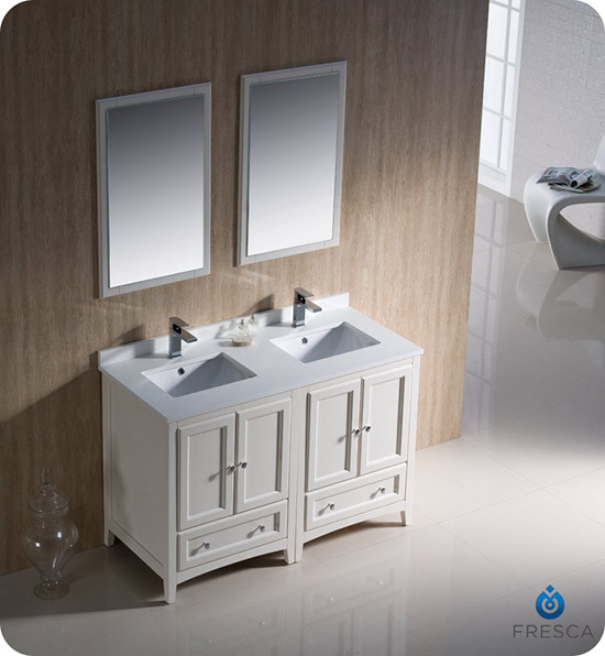 Fresca Oxford Double Inch Transitional Bathroom Vanity - 48 inch double vanity sink