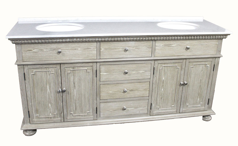 holbrook (double) 72-inch transitional bathroom vanity - whitewash