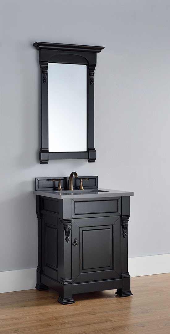 James Martin Brookfield (single) 26 Inch Antique Black Transitional Bathroom  Vanity With Top