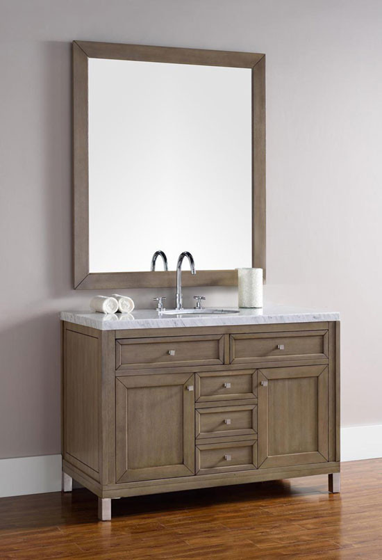 James Martin Chicago (single) 48 Inch White Washed Walnut Transitional Bathroom  Vanity With