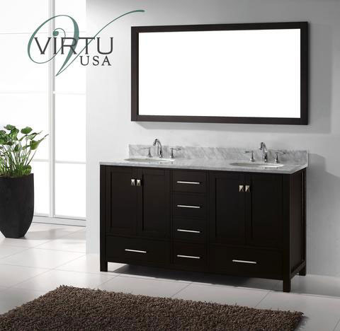 Virtu Usa Caroline Avenue Double 60 8 Inch Transitional Bathroom Vanity With Mirror Espresso