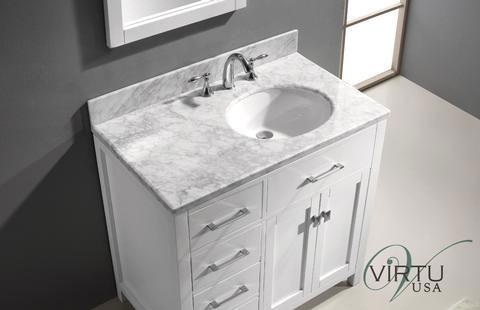 Virtu USA Caroline Parkway (single) 36.9 Inch Left Side White Transitional Bathroom  Vanity With Mirror