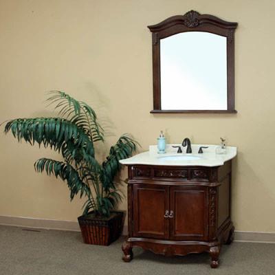 Montreal Single 35 Inch Traditional Solid Birch Bathroom Vanity W
