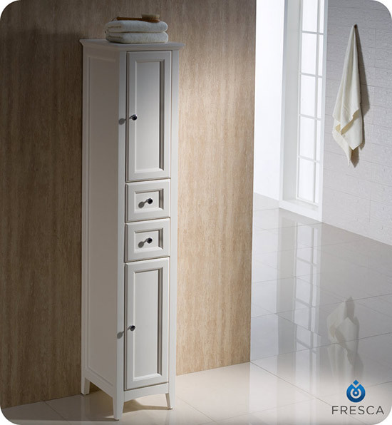 14 traditional bathroom tall linen side cabinet antique white