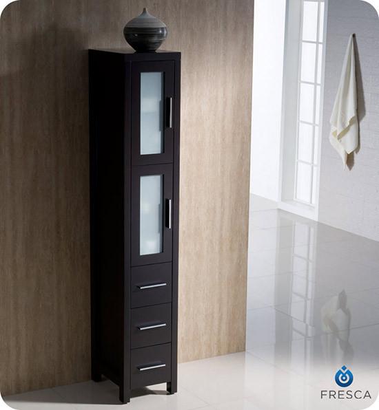 fresca torino 12 transitional bathroom tall linen side cabinet espresso. Black Bedroom Furniture Sets. Home Design Ideas