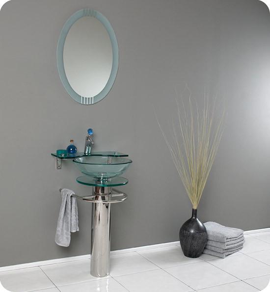 Fresca Ovale (single) 24-Inch Glass Modern Bathroom Vanity Set