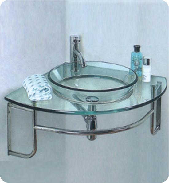 Fresca Ordinato (single) 24-Inch Glass Modern Corner Wall-Mount Bathroom Vanity