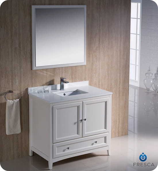 Fresca Oxford Single 36 Inch Transitional Bathroom Vanity Antique White