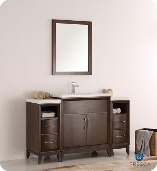 fresca cambridge single 54 inch modern bathroom vanity antique coffee. Black Bedroom Furniture Sets. Home Design Ideas