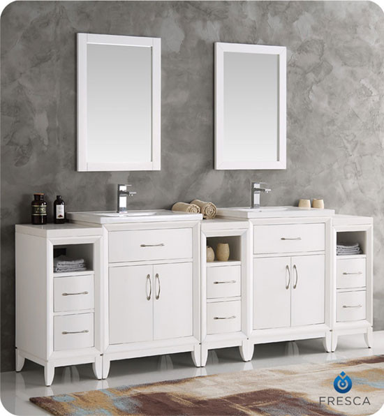 Fresca cambridge double 84 inch modern bathroom vanity white for 84 inch double sink bathroom vanity