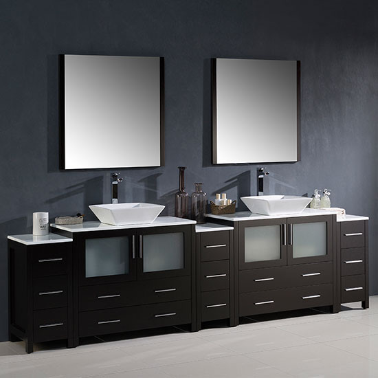 fresca torino double 108 inch modern bathroom vanity espresso with vessel sinks