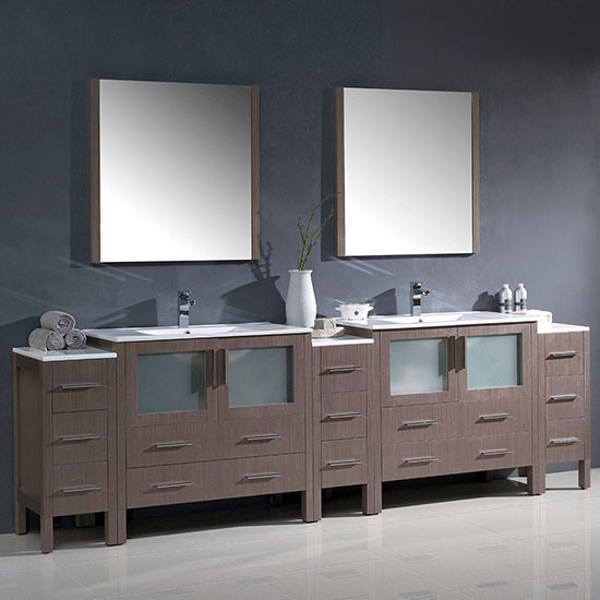 Fresca Torino Double 108 Inch Modern Bathroom Vanity Gray Oak With Integrated Sinks Fvn62