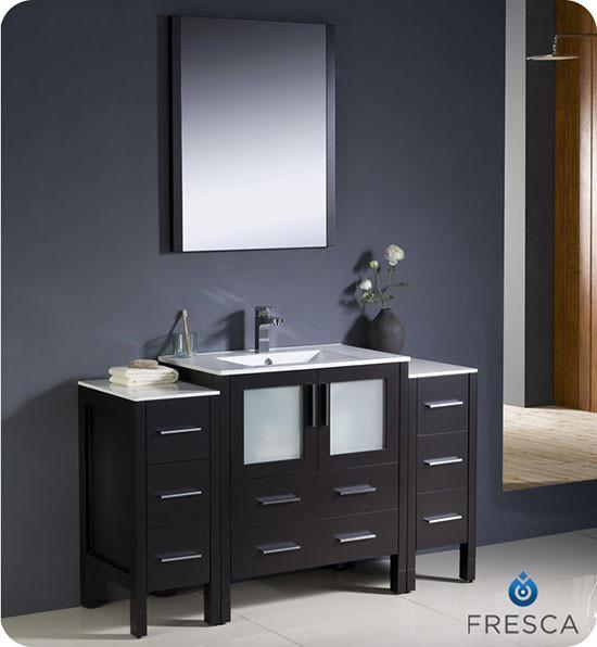 fresca torino single 54 inch modern bathroom vanity espresso with integrated sink. Black Bedroom Furniture Sets. Home Design Ideas