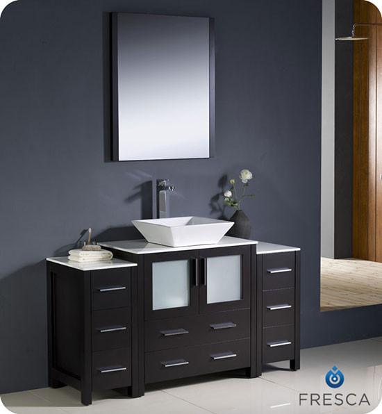 single 54inch Modern Bathroom Vanity  Espresso with Vessel Sink