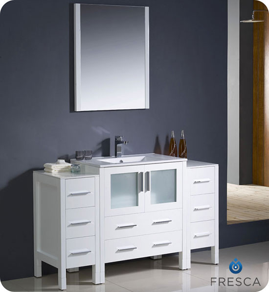 single 54inch Modern Bathroom Vanity  White with Integrated Sink