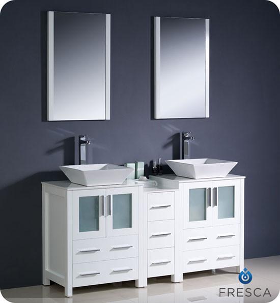 60 Inch Bathroom Vanity With Vessel Sink fresca torino (double) 60-inch modern bathroom vanity - white with