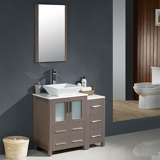 Contemporary Bathroom Vanities 36 Inch fresca torino (single) 36-inch modern bathroom vanity - gray oak