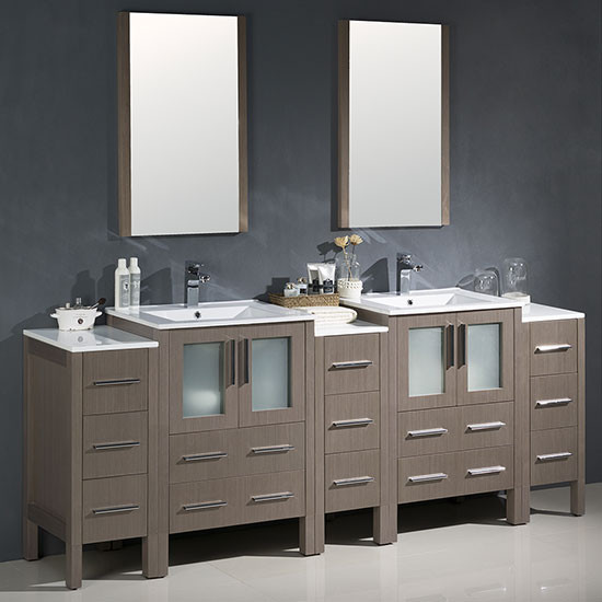 Fresca Torino Double 84 Inch Modern Bathroom Vanity Gray Oak With Integrated Sinks