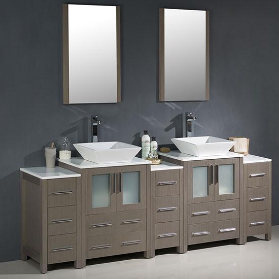 Fresca Torino Double 84 Inch Modern Bathroom Vanity Gray Oak With Vessel Sinks