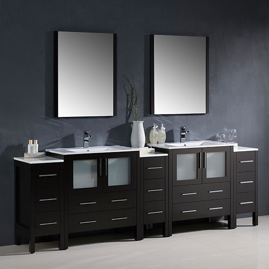 Fresca Torino (double) 96 Inch Modern Bathroom Vanity   Espresso With  Integrated Sinks
