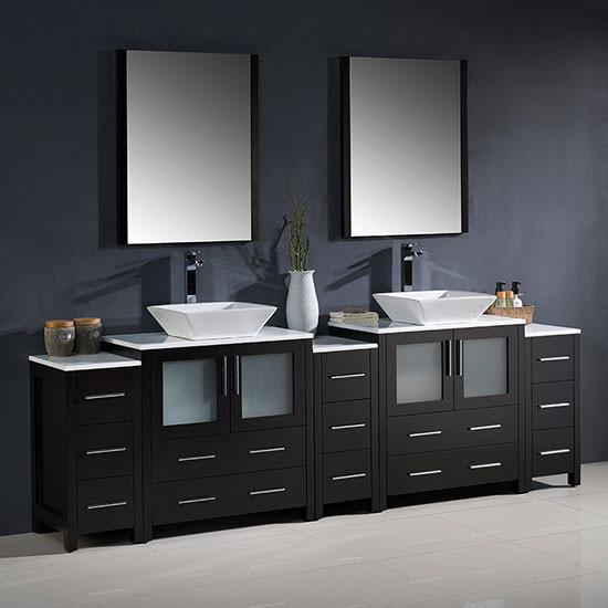 Fresca Torino Double 96 Inch Modern Bathroom Vanity Espresso With Vessel Sinks