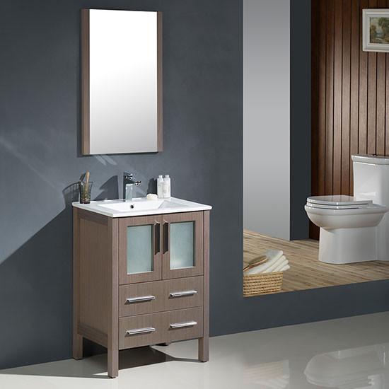 Fresca torino single 24 inch modern bathroom vanity gray oak with integrated sink for Modern bathroom vanity 24 inch