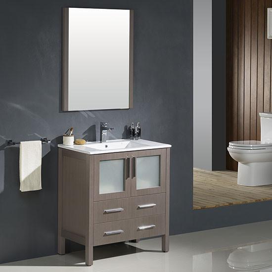 Fresca torino single 30 inch modern bathroom vanity for Gray 30 inch bathroom vanity