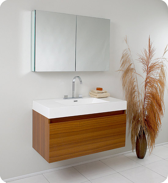 fresca mezzo single 39inch teak modern wallmount bathroom vanity set