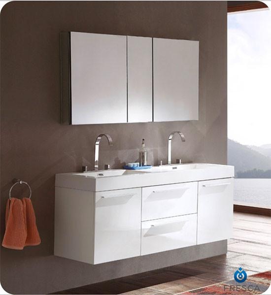 Fresca Opulento Double 54 Inch Modern Wall Mount Bathroom Vanity White