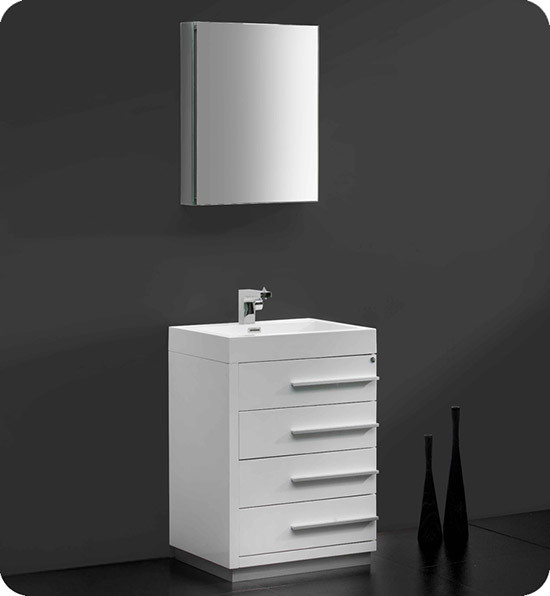 Fresca Livello (single) 23.4-Inch White Modern Bathroom Vanity Set