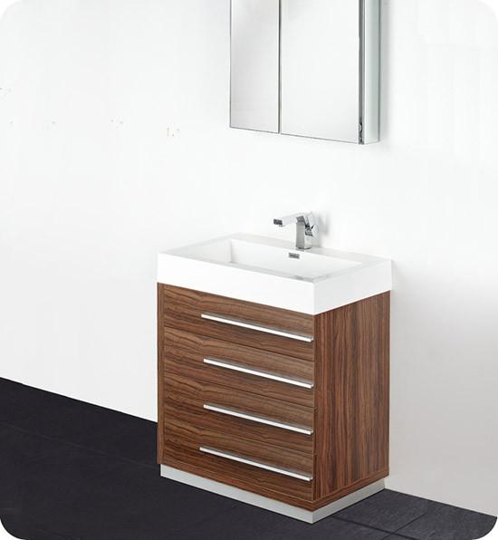 Fresca Livello Single 29 4 Inch Modern Bathroom Vanity Walnut