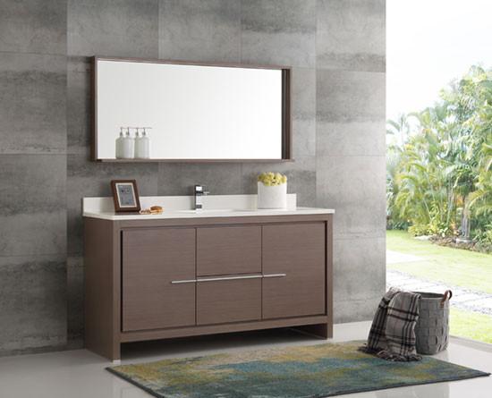 Fresca Allier Single 60 Inch Modern Bathroom Vanity Gray Oak
