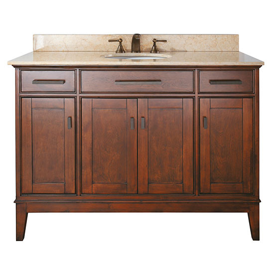 single 49 inch tobacco transitional bathroom vanity with top option