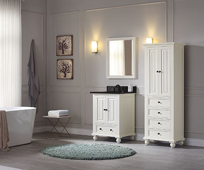 Avanity Thompson (single) 25 Inch French White Transitional Bathroom Vanity  With Top Option