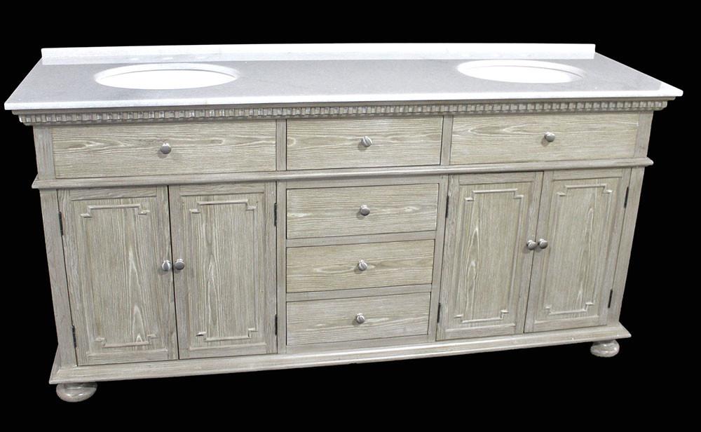 holbrook (double) 72-inch transitional bathroom vanity - whitewash