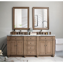 James Martin Bristol (double) 72-Inch White Washed Walnut Vanity Cabinet & Optional Countertops