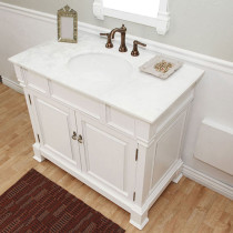 Harlow (single) 42-inch White Traditional Bathroom Vanity With Mirror Option
