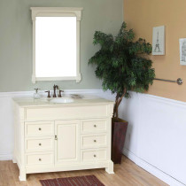 Harlow (single) 50-inch Cream White Traditional Bathroom Vanity With Mirror Option
