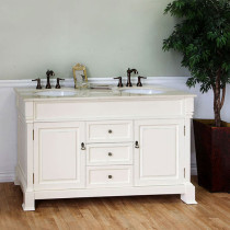 Harlow (double) 60-inch Cream White Traditional Bathroom Vanity With Mirror Option
