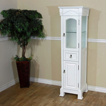 Harlow 18-Inch White Rub Edge Traditional Tall Linen Bathroom Side Cabinet