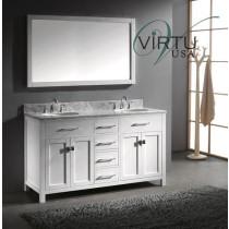 Virtu USA Caroline (double) 60-Inch White Contemporary Bathroom Vanity with Mirror