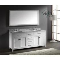 Virtu USA Caroline (double) 72-Inch White Contemporary Bathroom Vanity with Mirror