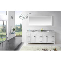 Virtu USA Caroline Parkway (double) 78-Inch White Contemporary Bathroom Vanity with Mirror