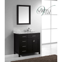 Virtu USA Caroline Parkway (single) 36.9-Inch Left Side Espresso Transitional Vanity with Mirror